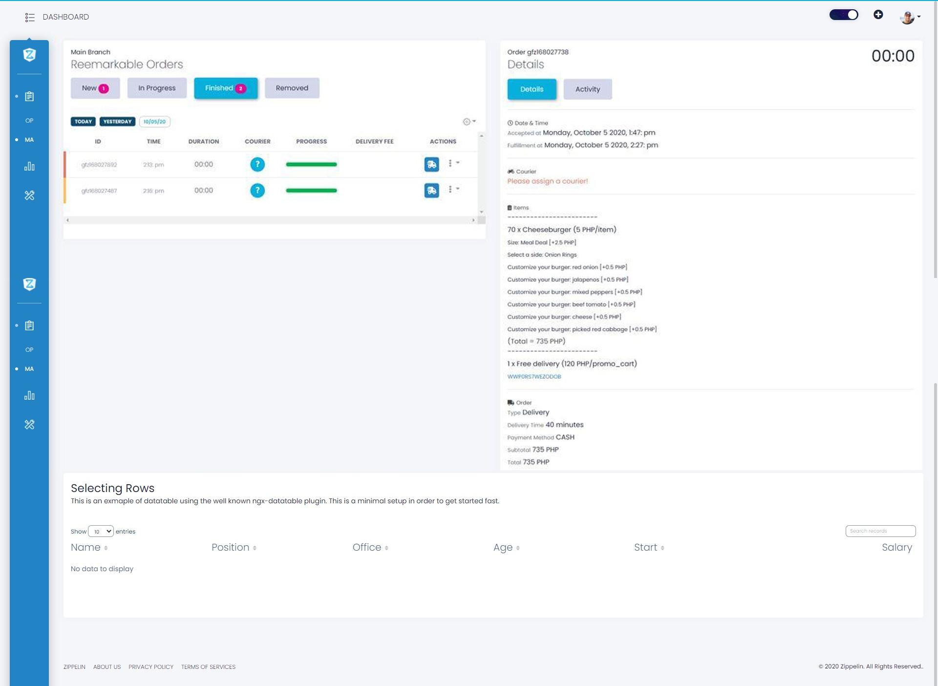 zipeli platform dashboard